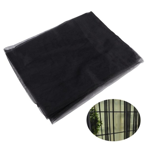 Solid Color Transparent Tulle Window Sheer Window Screen Voile Curtains for Wedding Bedroom 100x200cm (Black)