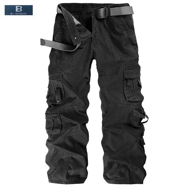 [EL BARCO] New Arrival Cotton Men Cargo Pants Casual Trousers Pocket Autumn Soft Breathable Black Khaki Male Long Loose Clothing Y1892801