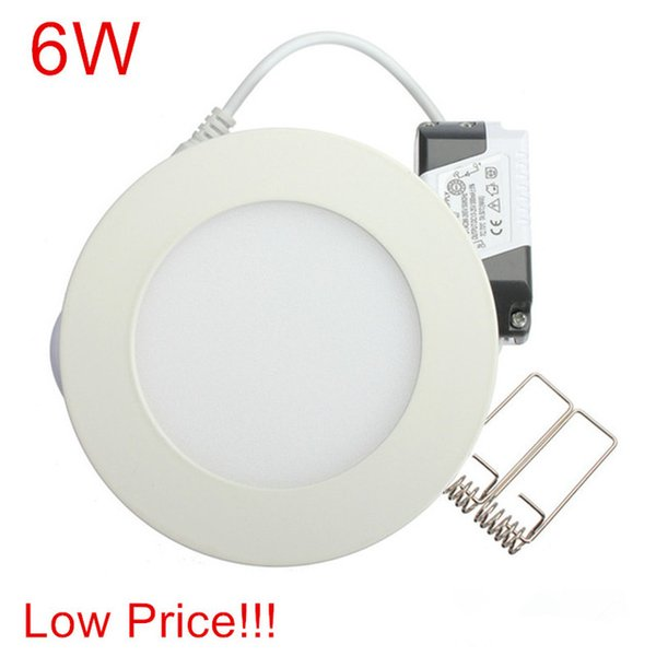 low Price!!! Ultra Bright 6W AC85-265V Led Ceiling Recessed Downlight Round Panel light Led Panel Bulb Lamp Light