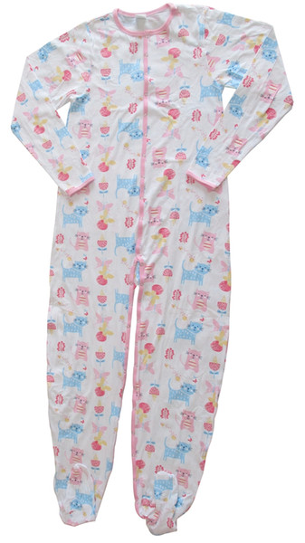 Sexy Cat Pattern Cotton Stretch Adult Footed Body Suit Sleepsuit Pyjamas
