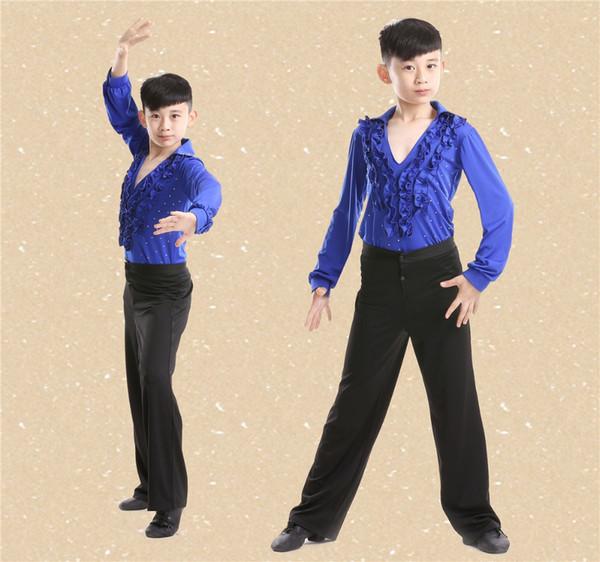 Freies Verschiffen Heißer Verkauf Junge Latin Dancewear Ruffly Blau Weiß Schwarz Ballsaal Bühne Moderne Jungen Latin Dance Kostüme Kleidung