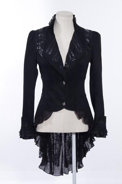 RQ-BL SP020 Women Black Steampunk Coat Elegant Gothic Jacket Military Tailcoat