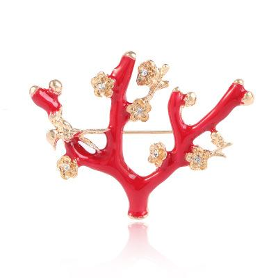 Women Clothes Accessories Rhinestone Brooch Exquisite Clothing Dress Brooch Flower Pins Party Festival Ornament Suit Brooch Pins Red Color