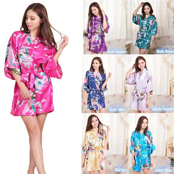 14 Farben Silk Satin Floral Nacht Robe Frauen Kimono Short Nachtwäsche Drucken Seide Fleck Blume Bademantel C5116