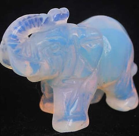 Exquisite Interesting Moonstone Hand Carved Elephant Statue 40mm