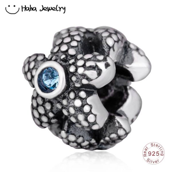 Haha Jewelry Ocean Sea Star Charm Crystal Beads Authentic Antique 925 Sterling Silver Starfish Bead for Pandora Charms Bracelet Making