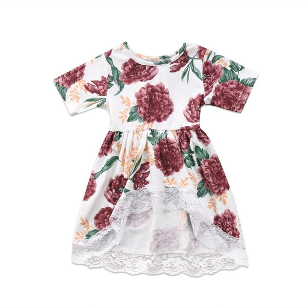 Girls Lace Tail Dress Sleeve Flower Cute Mini Tutu Princess Prom Party Newborn Kid Baby Girl Clothes Dresses Floral