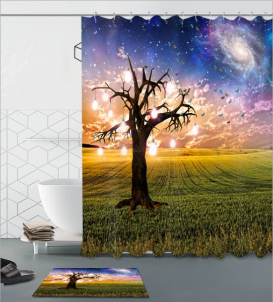 Light tree 3D pattern Print Custom Waterproof Bathroom Modern Shower Curtain Polyester Fabric Bathroom Curtain Door mat sets
