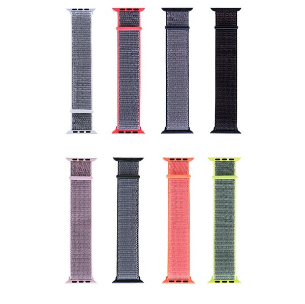 For apple watch Iwatch series 3 2 1 Woven Nylon Casual Watch Band sport loop Strap Wrist Bracelet Connector Mounted for 38mm 42mm 100pcs/lot