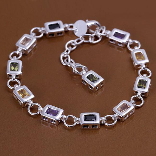 Fine 925 Sterling Silver Bracelet for Women Men,Fashion 925 Silver CZ Chain 8inch Bracelet Italy 2018 New Arrival Xmas Best Gfit AH261