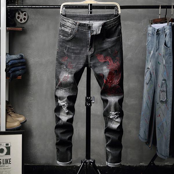 Calças de brim dos homens versão coreana calções elásticas calças de brim dos homens s calças patches furos calças JD1636