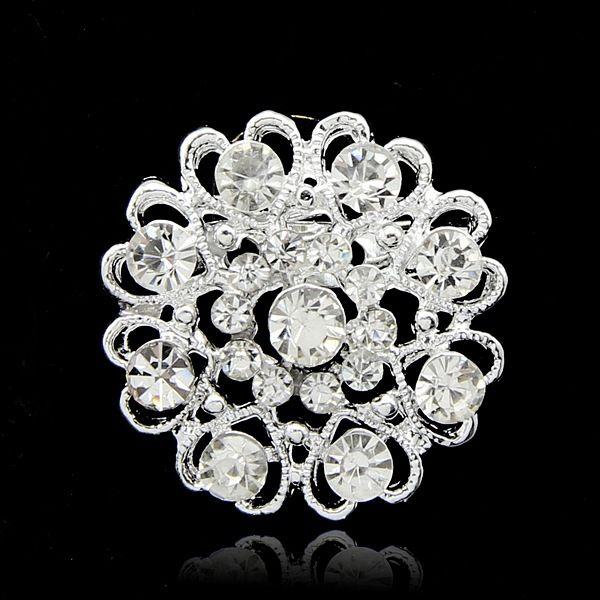 Spilla di cristallo rotondo di colore argento spille per le donne vestito sciarpa cappello accessori zaino bella strass matrimonio Bouquet fibbia spilla