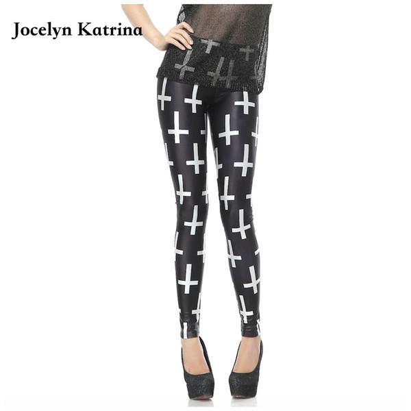 Jocelyn Katrina Новая осень Цифровая печать Tight Leggings Белый крест карандаш брюки Спортивный тренажерный зал йога брюки