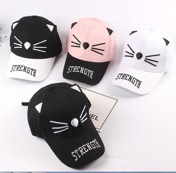 top popular 2018 Children's New Embroidery Cartoon Fashion Baseball Cap Cute Cat Men and women Spring Outing Visor Cap 2019