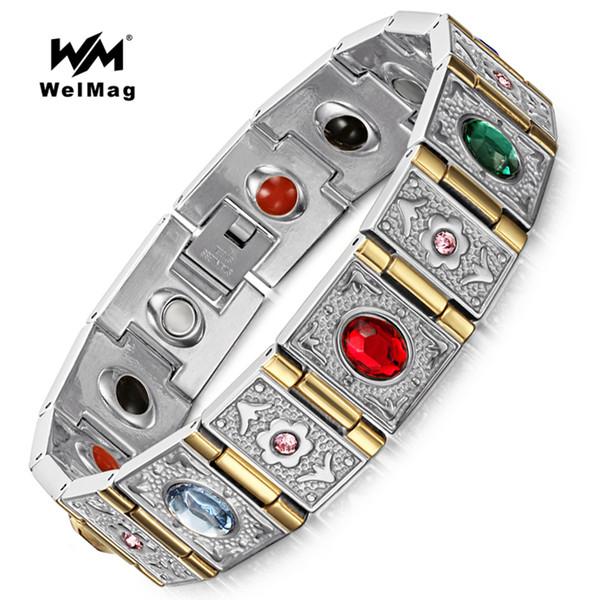 WelMag Moda Germanyum Bilezik Bilezik Paslanmaz Çelik erkek Manyetik Bilezik Magnetotherapy Takı Negatif iyon Bilezik