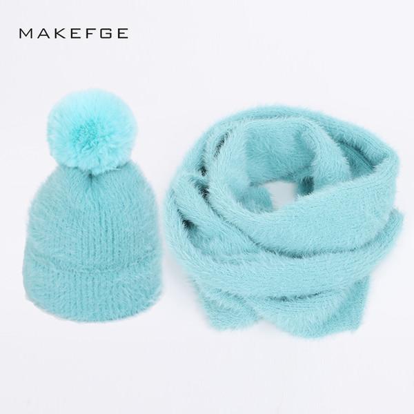 2018 New fashion Angora wool knit beanies hat scarf 2 Pieces Set winter adult children Parent-child Soft cap warm scarves pompom