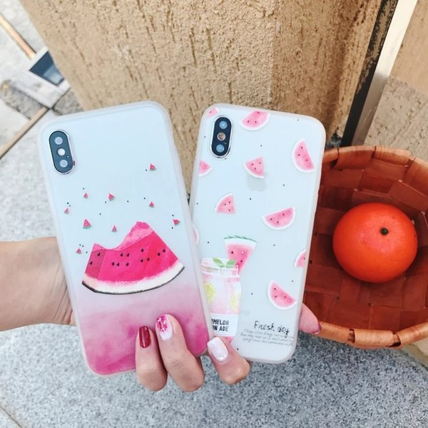 Phone Case For iPhone 7 8 Plus X Summer Fruit Fruit Cherry Watermelon Pattern Back Cover For iPhone 6 6S Plus Soft TPU Cases
