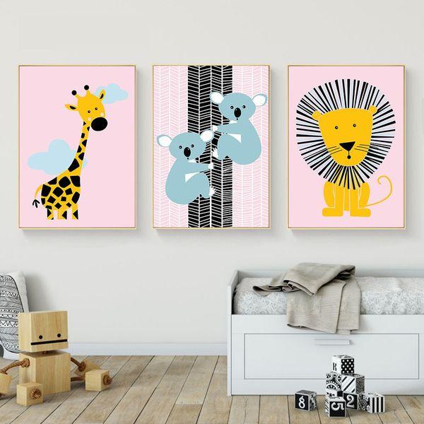 Animal dos desenhos animados Cartaz Girafa Leão Cópia Da Lona Minimalista Arte Da Parede Pintura Nordic Imagem Decorativa Crianças Sala de estar Do Bebê