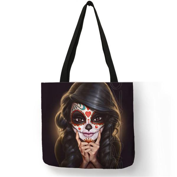 Personalizado Crânio Doce Menina Impresso Tote Bag Lona De Lona Das Mulheres Saco de Lona Eco Sacos de Compras Casa Dobrável Roupas de Armazenamento