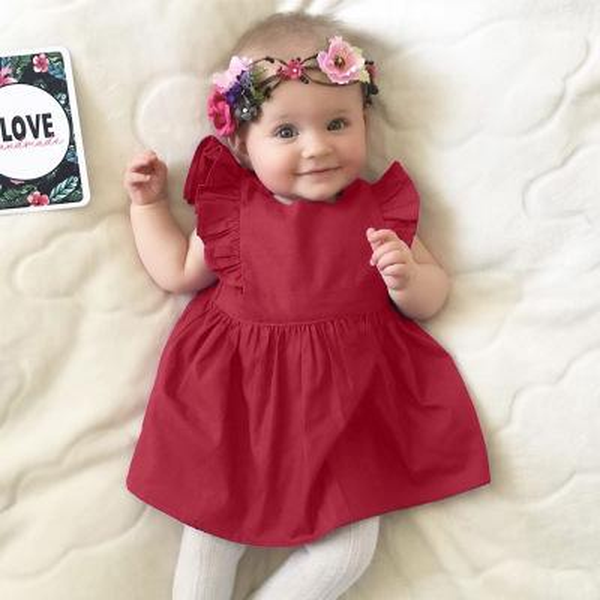 2018 Summer Toddler Kids Baby Girl Burgundy Ruffle Fly Sleeve Casual Dress Kids Soft Cotton Dress