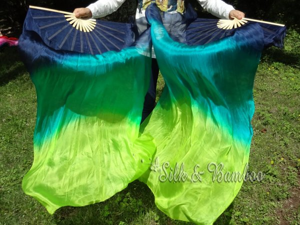 blue- peacock green-yellowish green, 1 pair(1pc right+1 pc left) 1.5m*0.9m hand painted belly dance silk fan veil,