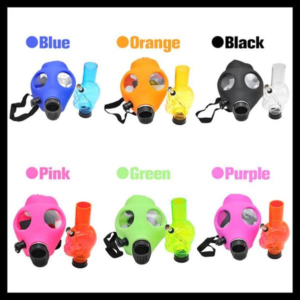 Máscara de gas Bong Hookah Smoking Pipes colores surtidos con acrílico pipas de agua Silicone Gas Mask Smoking Bong