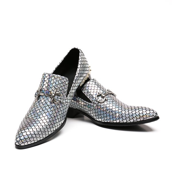 2018 Gold Sliver Glitter Men Loafers Sequins Slippers Flats Banquet Wedding Mens Dress Shoes Genuine Leather Casual size 38-46