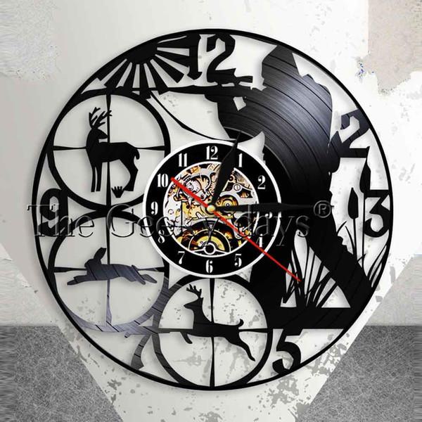 best selling Wildlife Woodland Hunting Animals Man Cave Wall Decor Wall Clock Hunting Club Record Clock Shot Target Hunters Gift