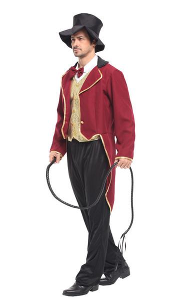 Halloween Costume Adult Men Lion Tiger Animal Tamer Costume Circus Ringmaster Cosplay Fantasia Carnival Cosplay