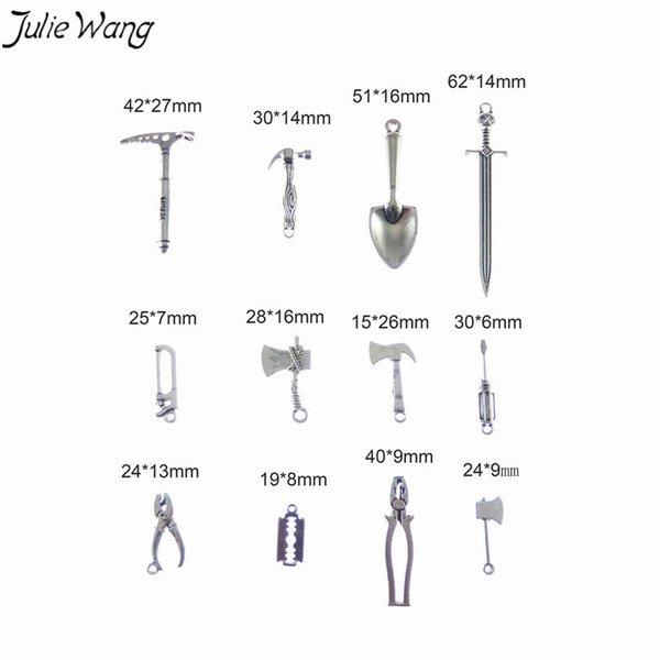 Julie Wang 12PCS Homely Tool Sword Pendant Wholesale Silver Tone Little Charm for Making Keychain Cool Jewelry Accessory Finding