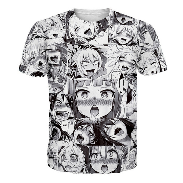 Ahegao Anime 3D T Shirt Men Women New Fashion Hip Hop Streetwear Tops Tees Casual Funny Graphic Tshirt Plus Size S-5XL Dropship