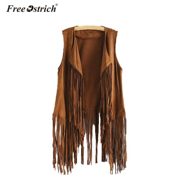 Free Ostrich Faux Suede Women 2018 Jacket Autumn Winter Ethnic Sleeveless Tassels Fringed Femme Slim Fit Cardigan A2635