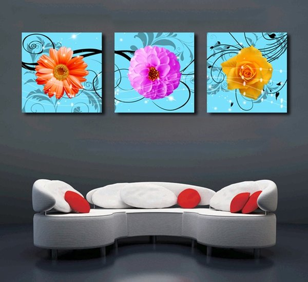 Modern Abstract Color Flowers Canvas Painting Unframed 3 Panels Print Pictures Wall Art Posters For Living Room