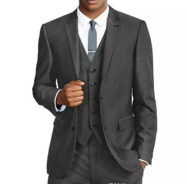 The best formal wedding dress man two button slim suit jacket 3 Groomsmen men (clothes pants + + Vest | tie)