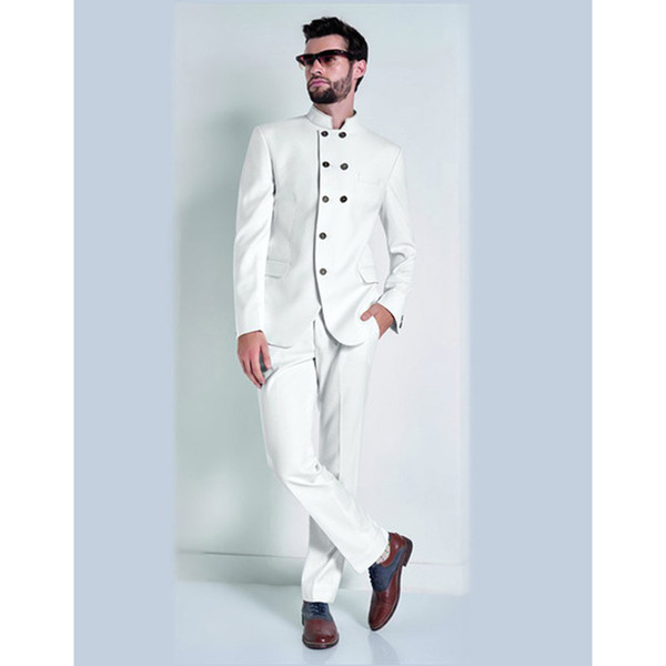 2018 New Stand Collar White Mens Suits Men's Formal Party Prom Wear Cool Men Tuxedos Slim men suit (Jacket+Pants+Tie)