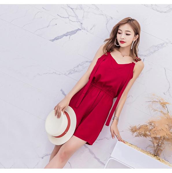 Robe de soirée d'été sans manches pour fille en mousseline de soie rouge