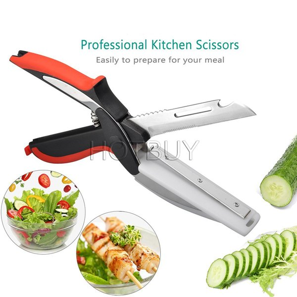 top popular Kitchen Clever Smart Cutter 6 in 1 Knife Cutting Board Scissors Accessories Food Cheese Meat Vegetable Stainless Steel Cutter #4441 2019