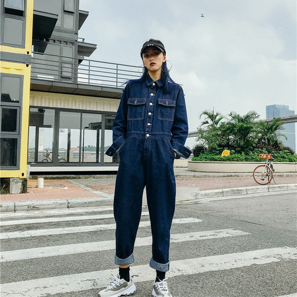 Free Shipping New Fashion Safari Style Long Sleeve Women High Quality Denim Jeans Jumpsuit And Rompers Plus Size Trousers S-XL