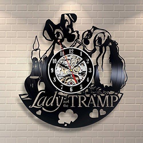 cadeau de bricolage pour le changement d'horloge 2018 dame et le tramp vinyle Record Klok Creative Pour Salon Décor Style Art Pour nouveau design