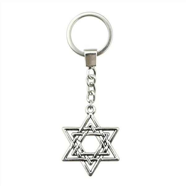 6 Pieces Key Chain Women Key Rings Fashion Keychains For Men Star Of David 33x26mm