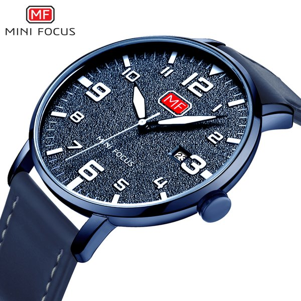 MINIFOCUS Men's Quartz Sport Watch Slim Clock Mens Watches Brand Luxury Male Blue Leather Military Wrist Watch relogio masculino Y1892111