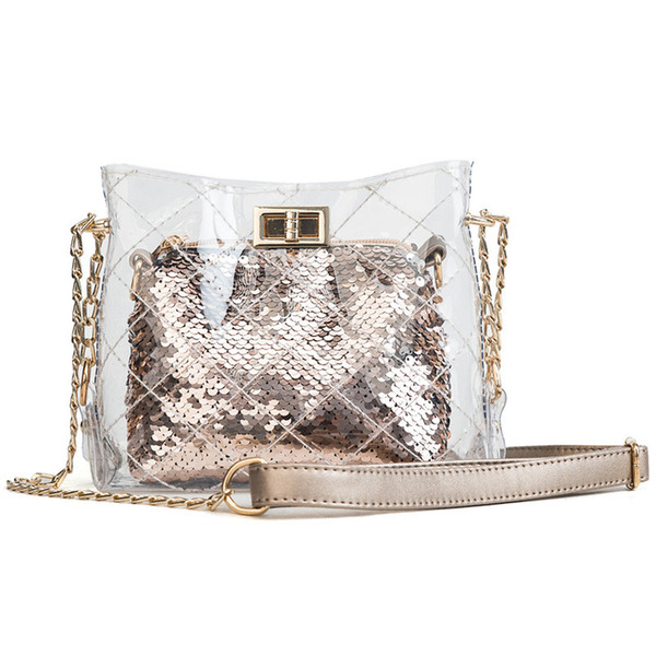 Kajie Luxury Handbag Women Transparent Bags Designer 2pcs Pvc Plastic Female Shoulder Bag Sequins Messenger Bag Lady Evening