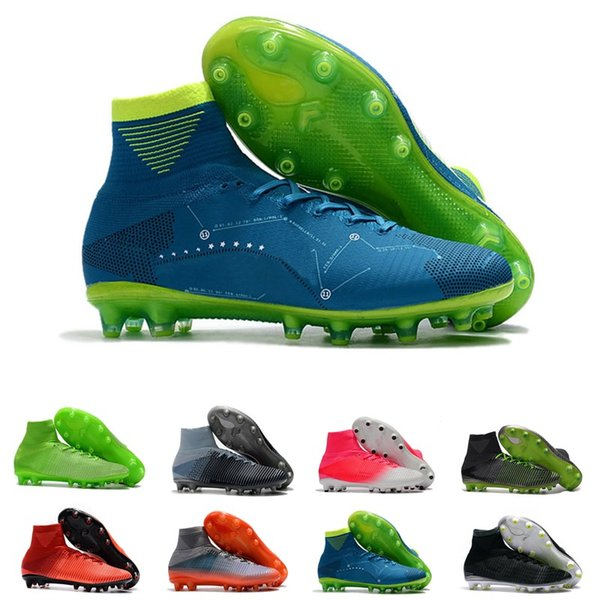 discount men high ankle soccer shoes knitting ACC waterproof Mercurial Superfly V AG Pro CR7 ronaldo exclusive football shoes size39-45