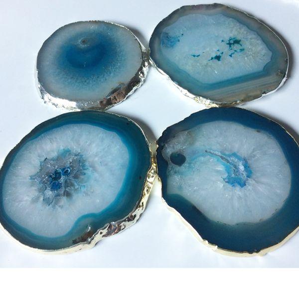 2019 Agate Coaster Teacup Tray Decorative Design Stone Coaster Gold Sier Edges Home Decor Gemstone Coaster Mat Pad From Glenae 27 78 Dhgate Com