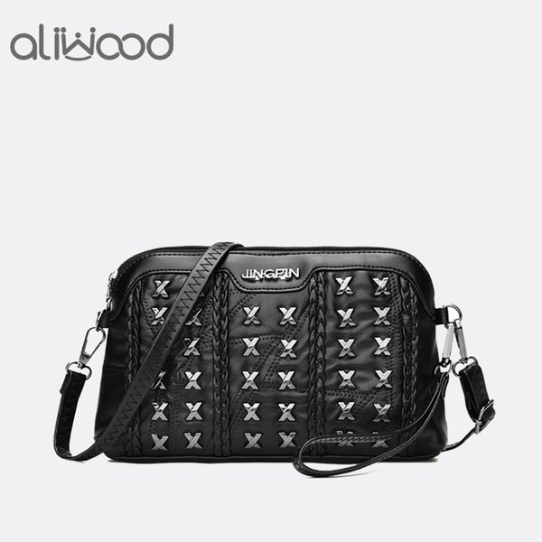 Aliwood Genuine Leather Shell Women bag Crossbody bag for women Handbags 2018 Fashion Rivet shoulder Patchwork Messenger