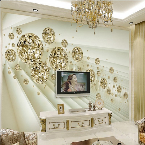 3D stereo Abstract space wallpaper background golden sphere ball mural TV background wall porch Living room decor