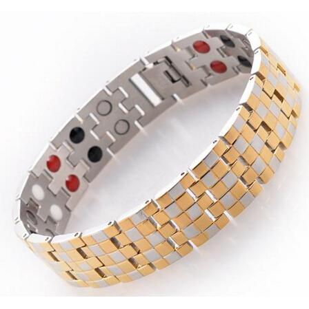 Men's 4 in 1 Healing Health Bracelet 316L Stainless Steel Care Magnetic Stone Hologram Ion Germanium Bio Energy Jewelry