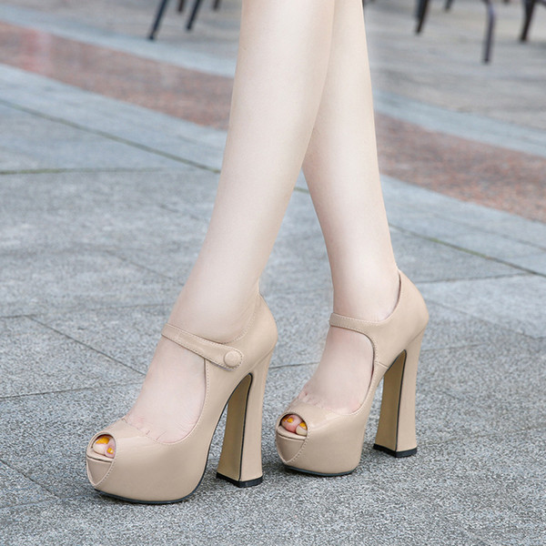 Escarpins pour dames sexy peep toe en cuir verni talon épais chaussures de soirée en robe 5 couleurs grande taille 35-46