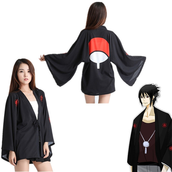 One Size Japan Anime Naruto Uchiha Sasuke Black Cosplay Unisex Costume Haori Chiffon Bathrobe Kimono Pajamas Cloak