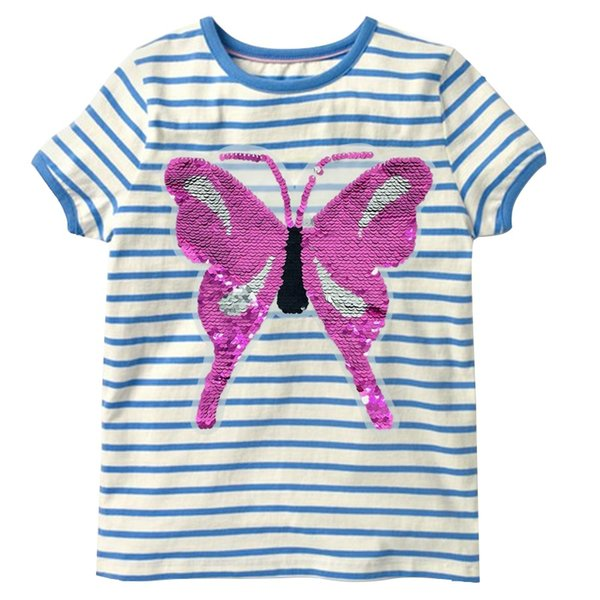 Sequins Butterfly Baby Girl T-Shirts Toddler Tops 100% Cotton Girls Tees Clothes Children Blouse Kids Outfits 1 2 3 4 5 Years